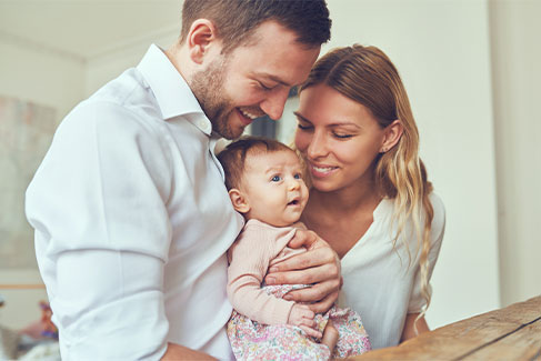 Family with baby