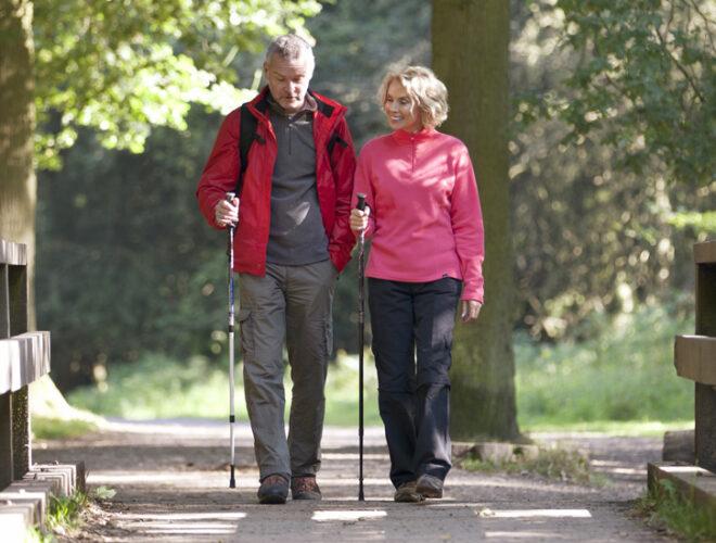mature couple walking