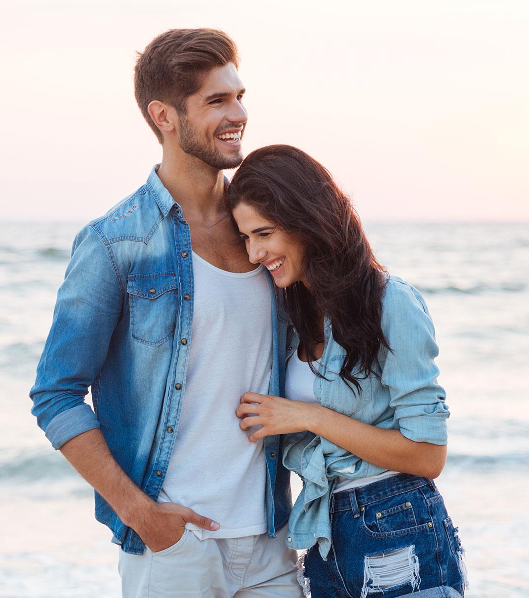 Loving couple on a beach